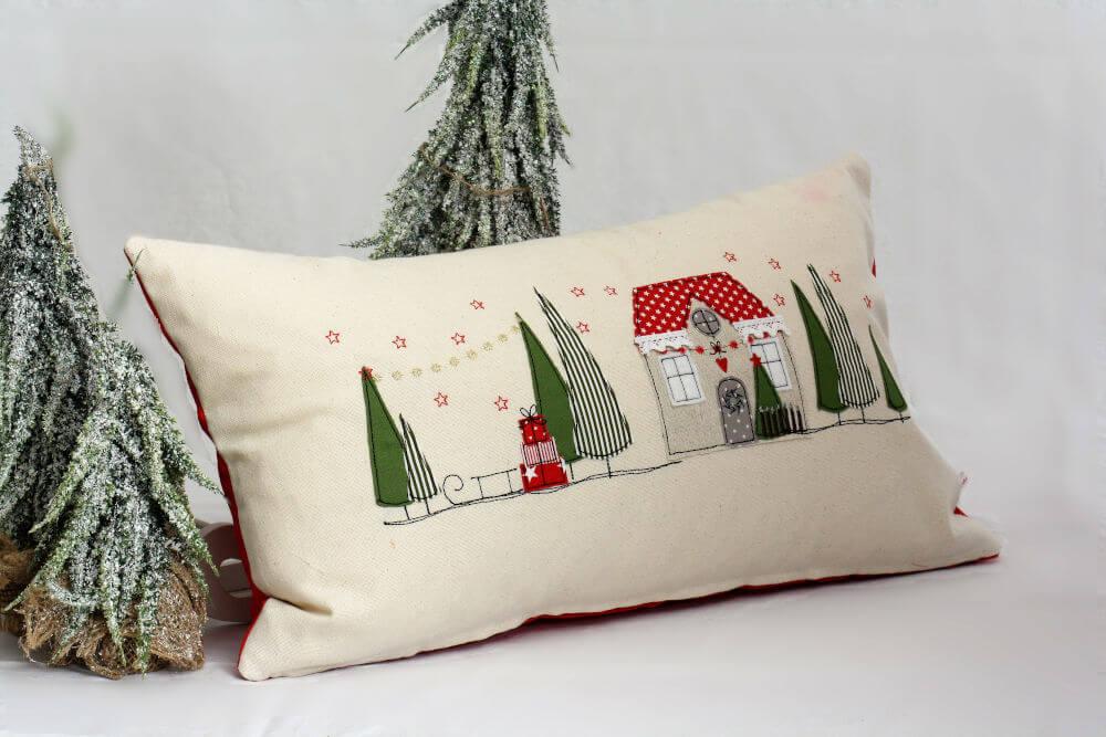 Advent Kissen Weihnachtsdorf