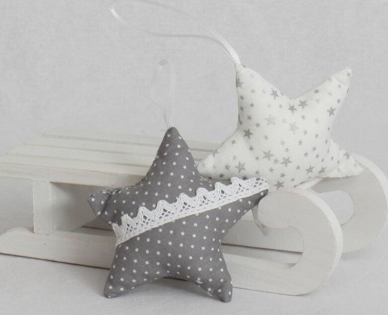 Baumschmuck Sterne grau