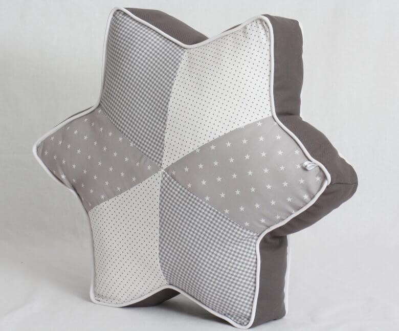 Sternkissen weiß grau